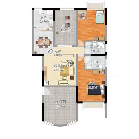 洱海传奇2室1厅2卫1厨144.00㎡户型图