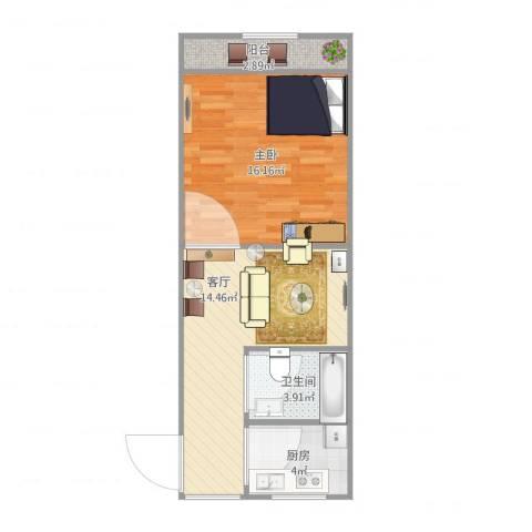 真光九街坊1室1厅1卫1厨56.00㎡户型图