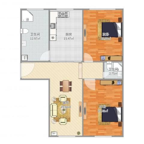 宝山三村2室1厅2卫1厨132.00㎡户型图