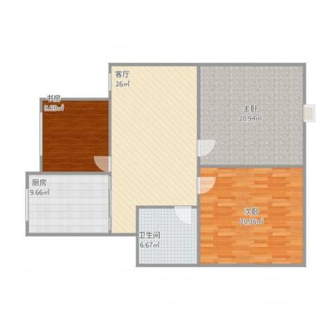 金丰阳光3室1厅1卫1厨124.00㎡户型图