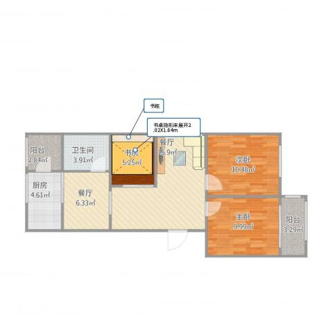 万兴凤凰花园3室2厅1卫1厨86.00㎡户型图