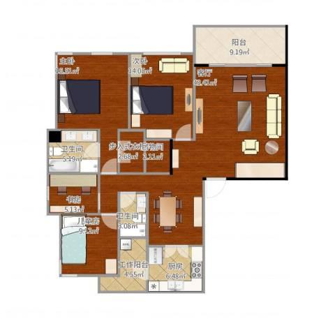 仁恒森兰雅苑一期4室1厅2卫1厨165.00㎡户型图