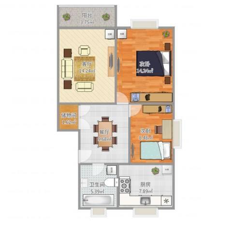 华灵路410弄小区2室2厅1卫1厨88.00㎡户型图