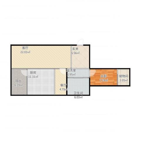 欣豪凤凰城1室3厅1卫1厨96.00㎡户型图
