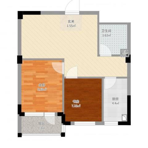 金和温州城2室1厅1卫1厨55.13㎡户型图