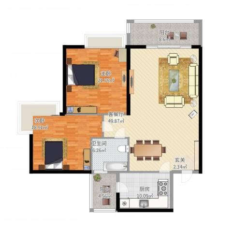 金湖花园2室1厅1卫1厨165.00㎡户型图