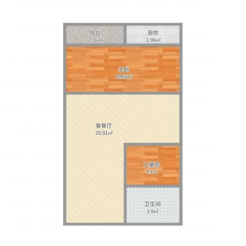 万都阿波罗48㎡1.5房2室1厅1卫1厨60.00㎡户型图