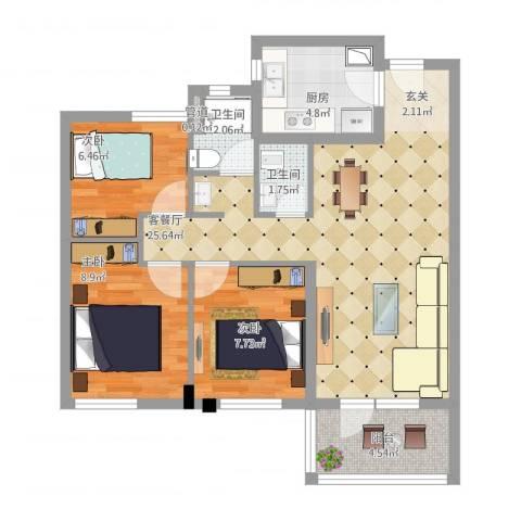 万科城花�苑3室1厅2卫1厨90.00㎡户型图