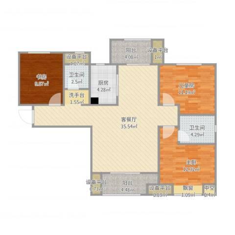 中海琴台华府3室1厅2卫1厨127.00㎡户型图