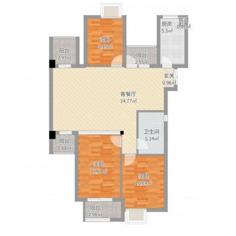 清江人家3室1厅1卫1厨125.00㎡户型图