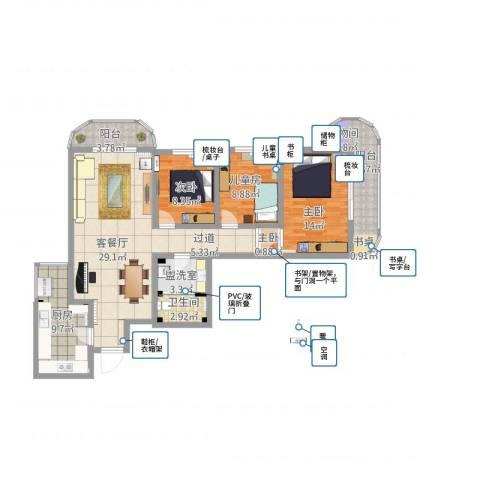 亚运豪庭4室1厅1卫1厨137.00㎡户型图