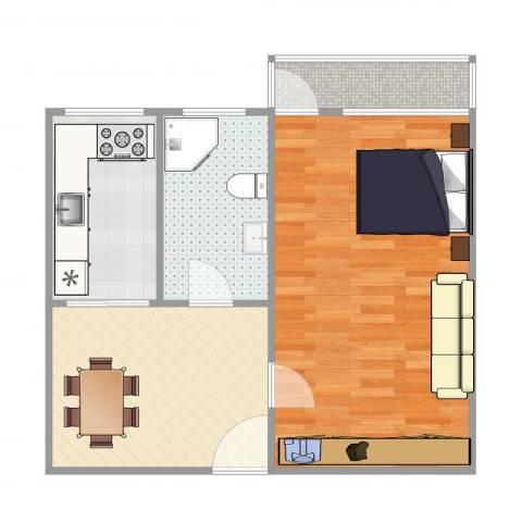 东关南里1室1厅1卫1厨64.00㎡户型图