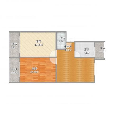 自考办家属院1室1厅1卫1厨77.00㎡户型图