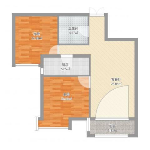 府东美奥花苑2室1厅1卫1厨90.00㎡户型图