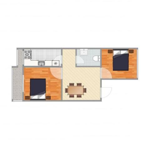 东关南里2室1厅1卫1厨70.00㎡户型图