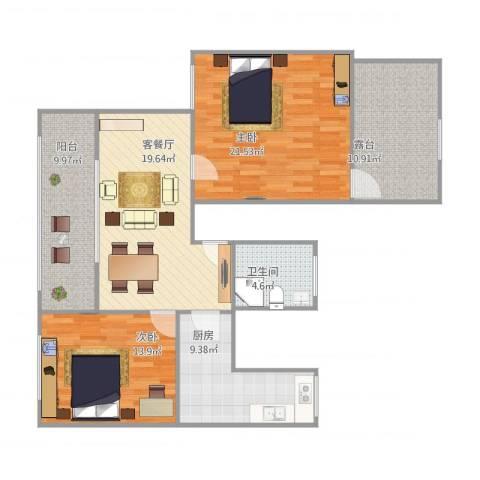 浦发绿城2079弄小区2室1厅1卫1厨121.00㎡户型图