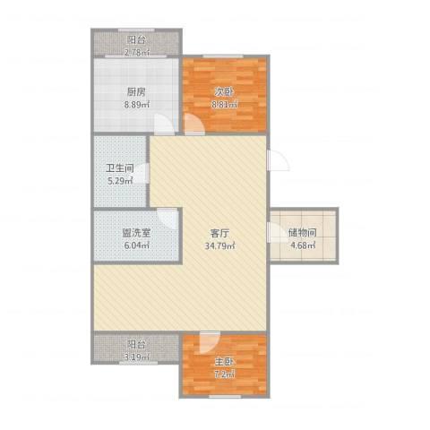 青松北里2室2厅1卫1厨110.00㎡户型图