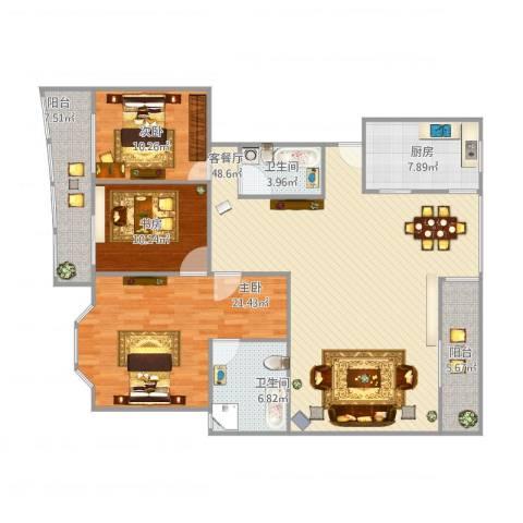 银河湾3室1厅2卫1厨164.00㎡户型图