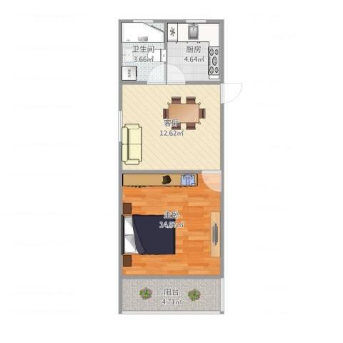 淞南七村1室1厅1卫1厨55.00㎡户型图