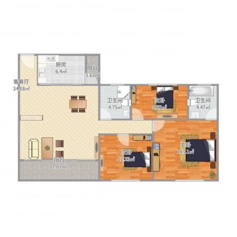 紫荆楼3室1厅2卫1厨130.00㎡户型图