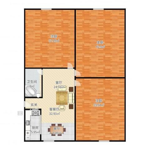 三里新城兰苑3室1厅1卫1厨215.00㎡户型图