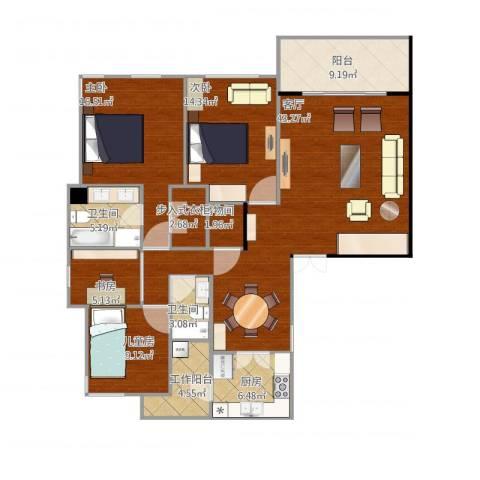 仁恒森兰雅苑一期-3D4室1厅2卫1厨165.00㎡户型图