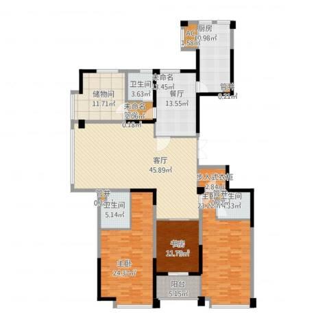 宁海世贸中心3室1厅3卫1厨235.00㎡户型图