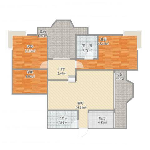 新城绿洲1-19033室1厅2卫1厨131.00㎡户型图