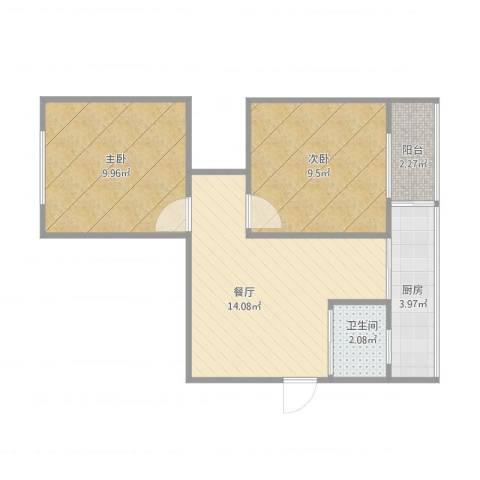 肿瘤医院家属楼2室1厅1卫1厨57.00㎡户型图