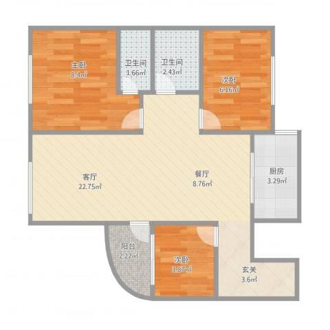 太湖新城3室1厅2卫1厨70.00㎡户型图
