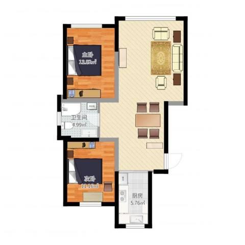 景康名苑2室1厅1卫1厨99.00㎡户型图