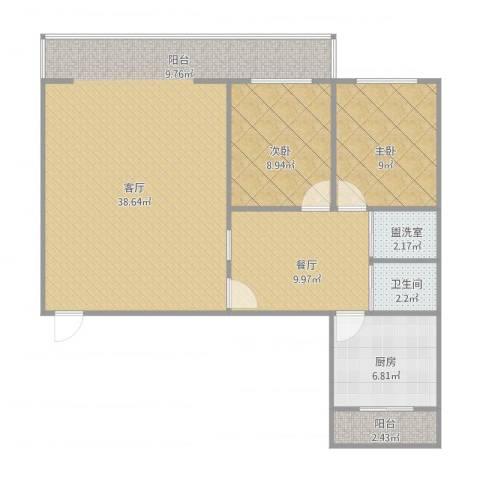 同心花园2室3厅1卫1厨108.00㎡户型图
