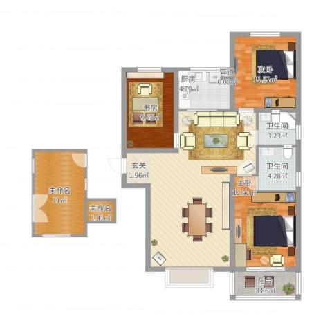 燕大星苑红树湾3室1厅2卫1厨139.00㎡户型图