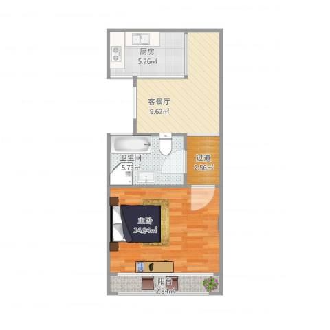 清河路202弄小区1室1厅1卫1厨56.00㎡户型图