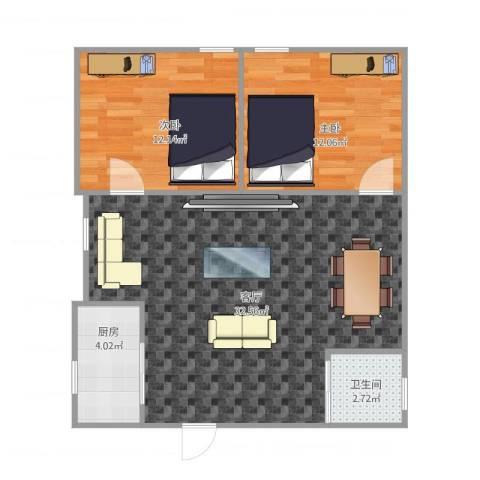 华辉花园2室1厅1卫1厨85.00㎡户型图