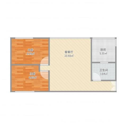 黄田小区2室1厅1卫1厨69.00㎡户型图
