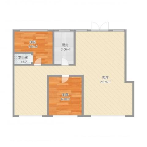 亿锋现代城2室1厅1卫1厨60.00㎡户型图