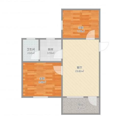 钟村东兴大厦2室1厅1卫1厨60.00㎡户型图
