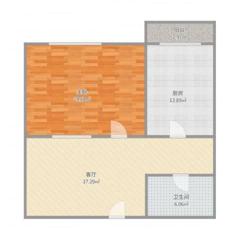 名仕乐居1室1厅1卫1厨100.00㎡户型图