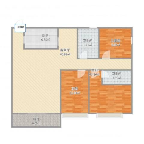 泰景花园3室1厅2卫1厨142.00㎡户型图