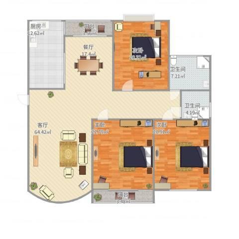 绿洲紫荆花园3室1厅2卫1厨211.00㎡户型图
