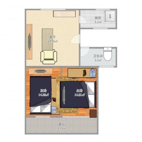 峨山小区2室1厅1卫1厨99.00㎡户型图