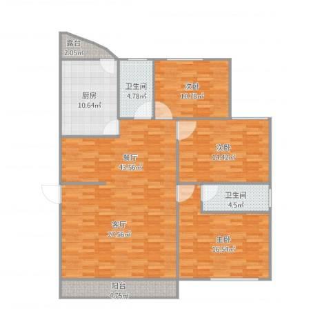 恒福湖景湾3室1厅2卫1厨150.00㎡户型图