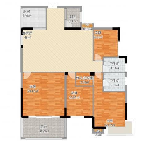 蟠龙花园4室1厅2卫1厨195.00㎡户型图
