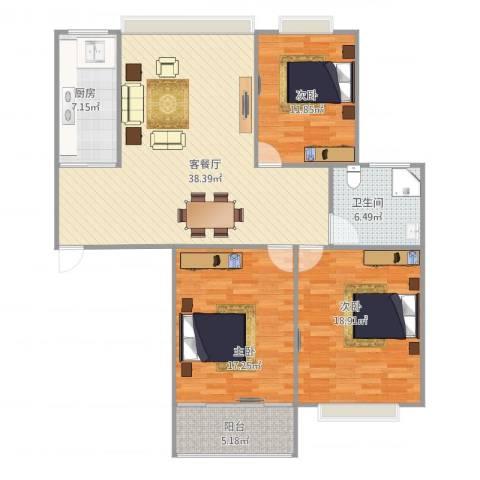 万邦都市花园四、五期3室1厅1卫1厨136.00㎡户型图