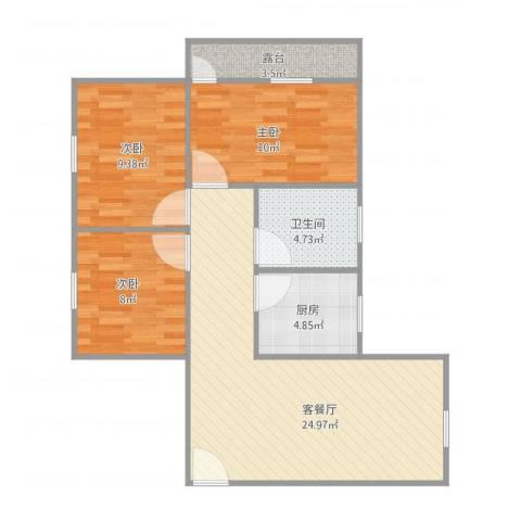 家乐村3室1厅1卫1厨89.00㎡户型图
