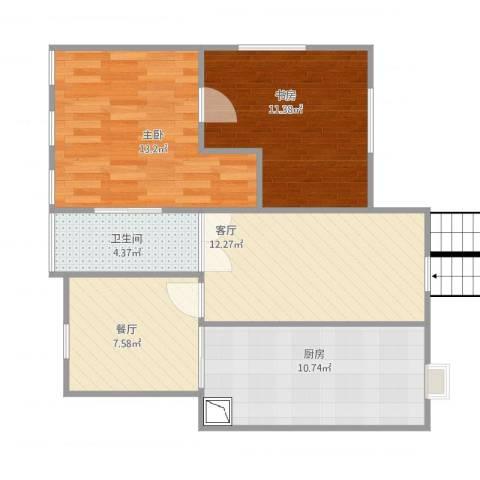和谐家园2室2厅1卫1厨81.00㎡户型图