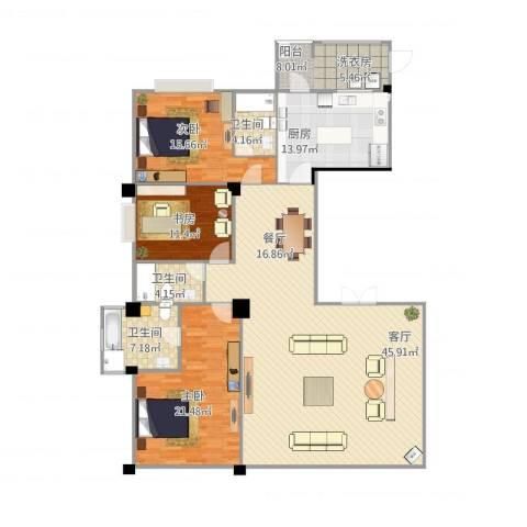 御峰臻品3室1厅3卫1厨198.00㎡户型图