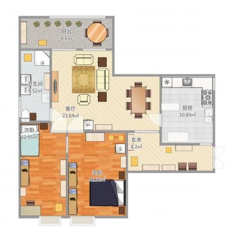 山水文园五期2室1厅1卫1厨116.00㎡户型图