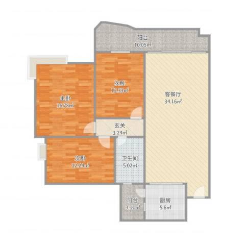 金域湾3室1厅1卫1厨138.00㎡户型图